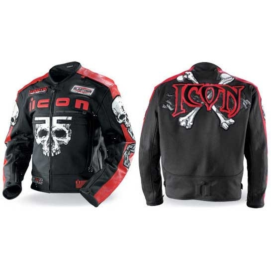 Blouson Icon Moto Rouge Cuir Skull M HqvnHr