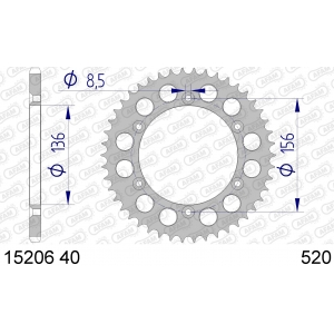 Couronne AFAM 52 dents type 15206N pas 520 alu AJP PR4 125 Enduro