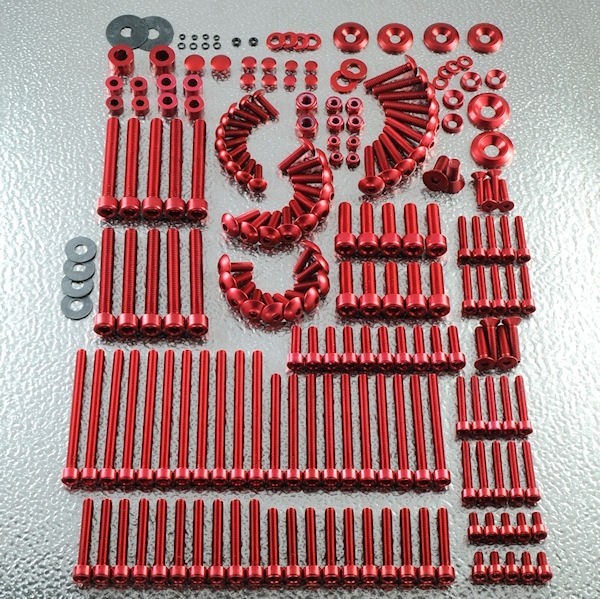 Kit Atelier Aluminium Anodisé Mix 100 Pièces. -> Viserie Moto